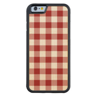 Red and White Gingham Pattern Carved® Maple iPhone 6 Bumper