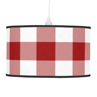 Red and White Gingham Pattern Ceiling Lamp
