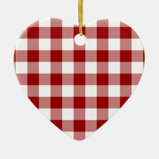 Red and White Gingham Pattern Ceramic Ornament