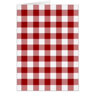 Red and White Gingham Pattern Christmas Card