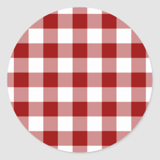 Red and White Gingham Pattern Classic Round Sticker