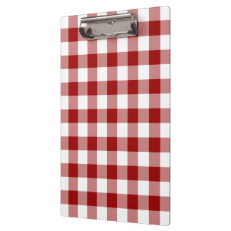 Red and White Gingham Pattern Clipboard