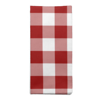 Red and White Gingham Pattern Cloth Napkin