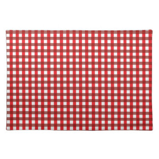Red and White Gingham Pattern Cloth Placemat