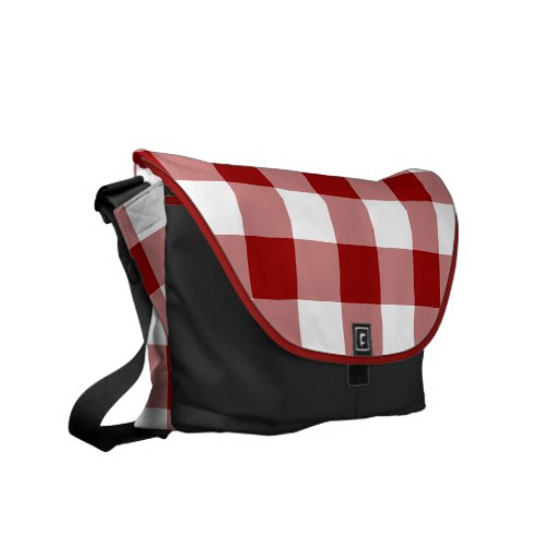 Red and White Gingham Pattern Courier Bag