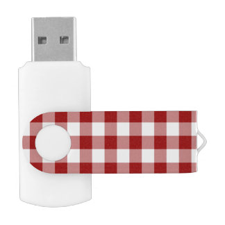 Red and White Gingham Pattern Flash Drive