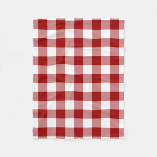 Red and White Gingham Pattern Fleece Blanket