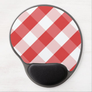 Red and white gingham pattern gel mouse pad