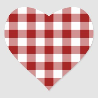 Red and White Gingham Pattern Heart Sticker