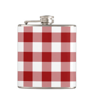 Red and White Gingham Pattern Hip Flask