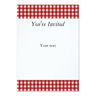 Red and White Gingham Pattern 5x7 Paper Invitation Card