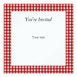 Red and White Gingham Pattern Invite