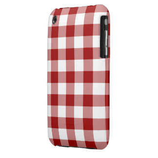 Red and White Gingham Pattern iPhone 3 Cover