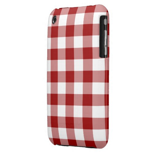 Red and White Gingham Pattern iPhone 3 Covers