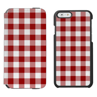 Red and White Gingham Pattern iPhone 6/6s Wallet Case