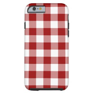 Red and White Gingham Pattern iPhone 6 Shell case