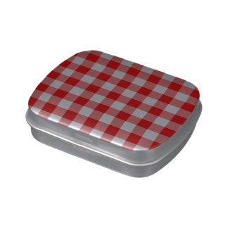 Red and White Gingham Pattern Jelly Belly Tin