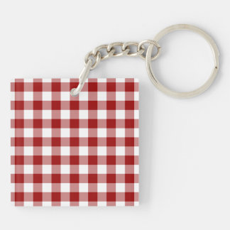 Red and White Gingham Pattern Double-Sided Square Acrylic Keychain