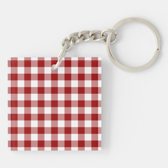 Red and White Gingham Pattern Keychain