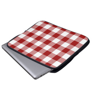 Red and White Gingham Pattern Laptop Sleeve