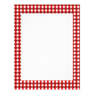 Red and White Gingham Pattern Letterhead