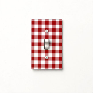 Red and White Gingham Pattern Light Switch Cover