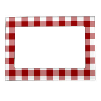 Red and White Gingham Pattern Magnetic Photo Frame