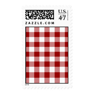 Red and White Gingham Pattern – Medium Postage