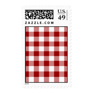 Red and White Gingham Pattern – Medium Postage Stamp