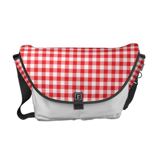 Red and white Gingham pattern messenger bag