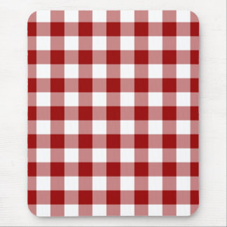 Red and White Gingham Pattern Mouse Pad