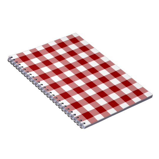 Red and White Gingham Pattern Notebook