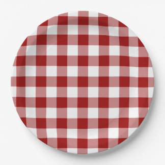 Red and White Gingham Pattern Paper Plate