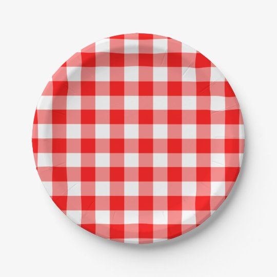 Red And White Gingham Pattern Paper Plate Zazzle Com