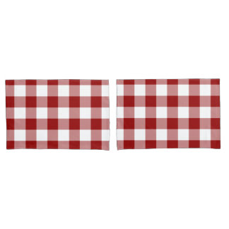 Red and White Gingham Pattern Pillow Case
