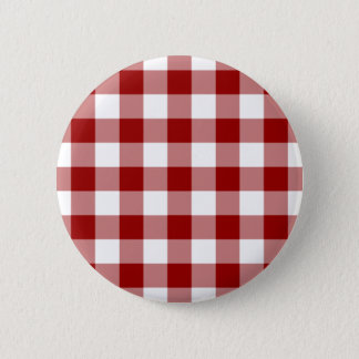Red and White Gingham Pattern Pinback Button