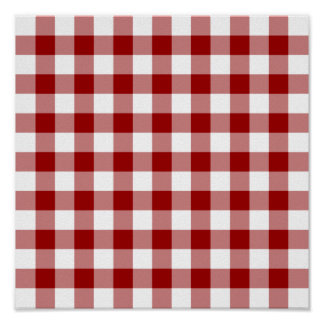 Red and White Gingham Pattern Poster