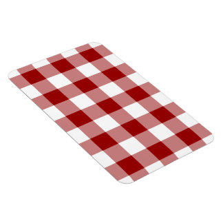 Red and White Gingham Pattern Rectangular Photo Magnet