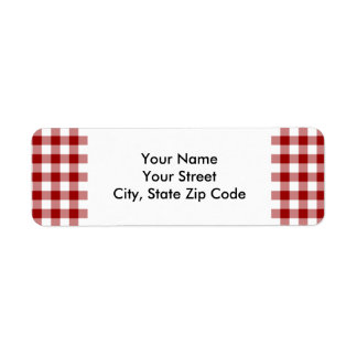 Red and White Gingham Pattern return address label