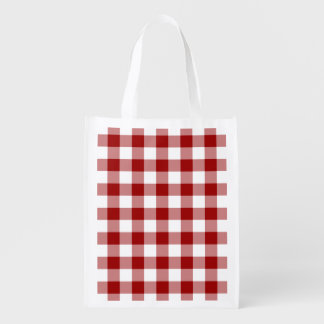 Red and White Gingham Pattern Reusable Grocery Bags