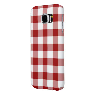 Red and White Gingham Pattern Samsung Galaxy S6 Case