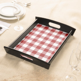 Red and White Gingham Pattern Serving Tray