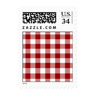 Red and White Gingham Pattern – Small Postage Stamps