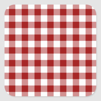 Red and White Gingham Pattern Square Sticker
