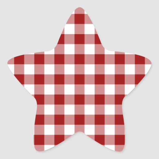 Red and White Gingham Pattern Star Sticker