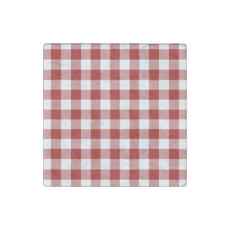 Red and White Gingham Pattern Stone Magnet