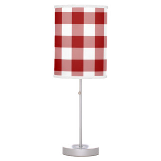 Red and White Gingham Pattern Table Lamp