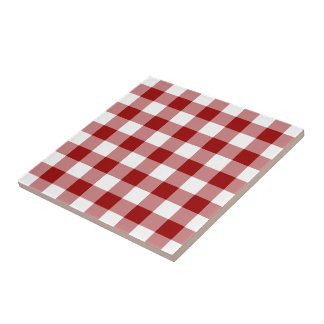 Red and White Gingham Pattern Tile