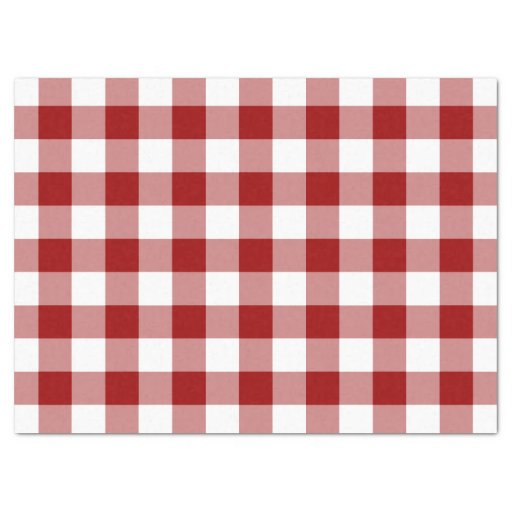 Red and White Gingham Pattern Tissue Paper