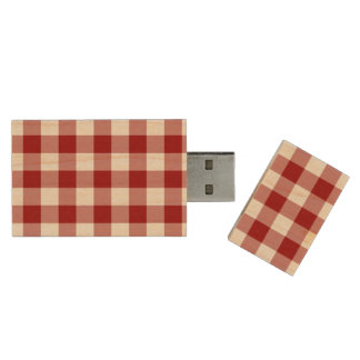 Red and White Gingham Pattern Wood USB Flash Drive